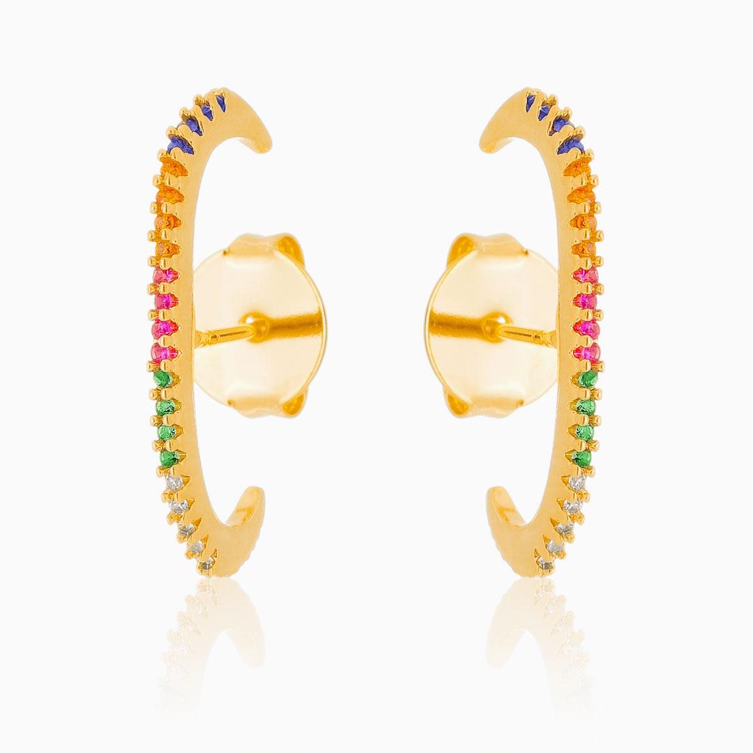 Brinco ear hook cravejado colorido banhado a ouro 18k