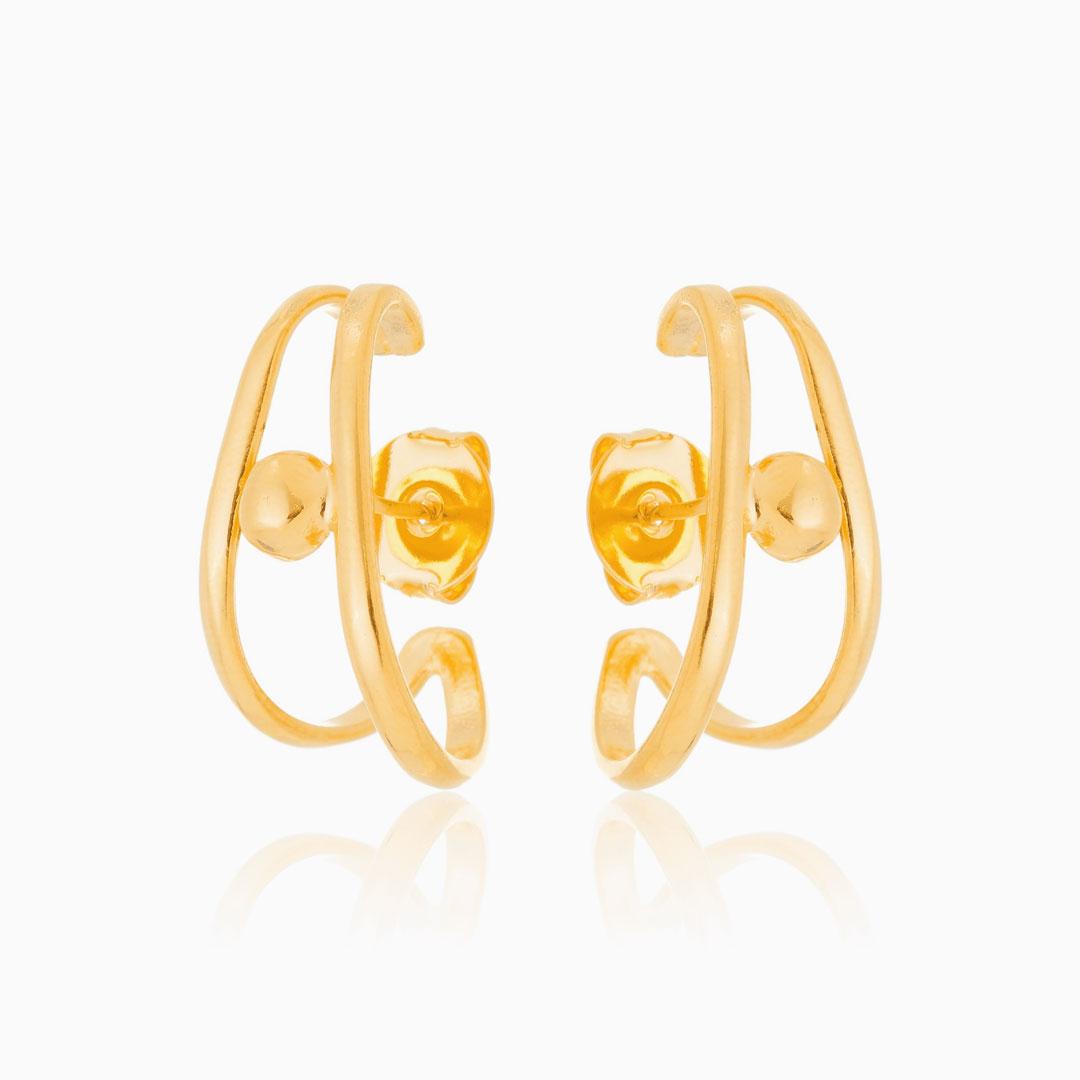 Brinco ear hook duplo com detalhe banhado a ouro 18k