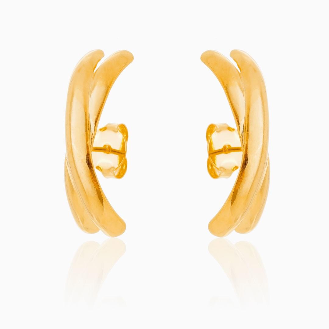 Brinco ear hook Lis banhado a ouro 18k