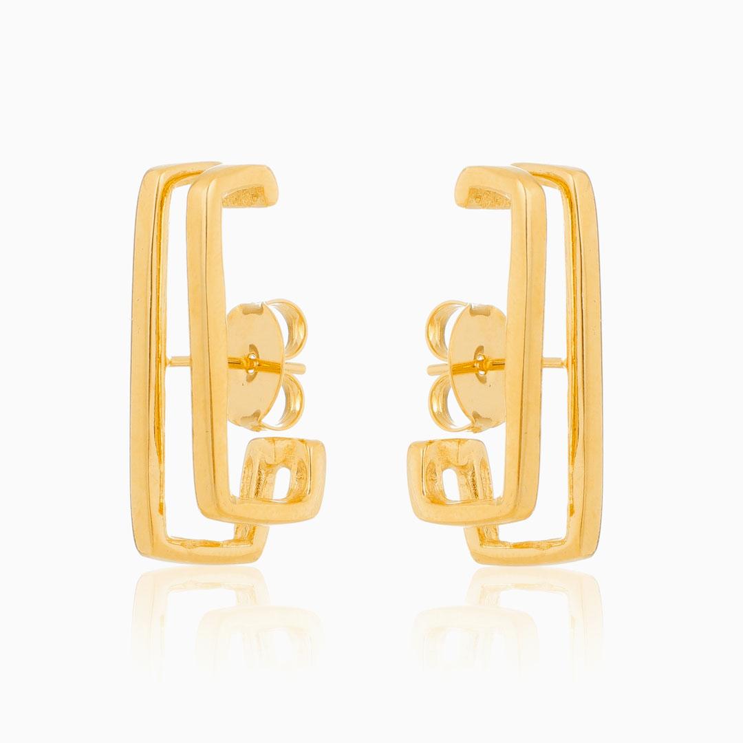 Brinco ear hook quadrado banhado a ouro 18k