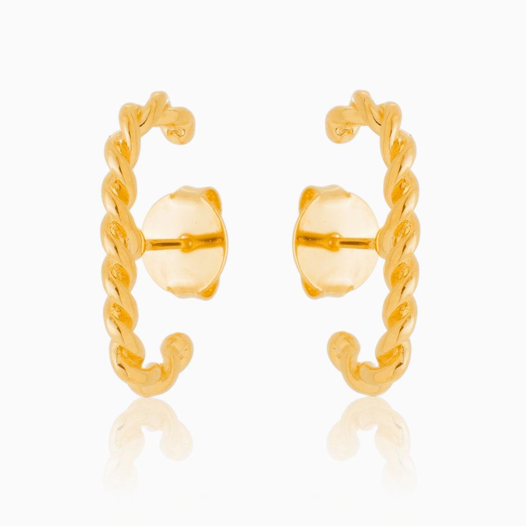 Brinco ear hook torcido banhado a ouro 18k