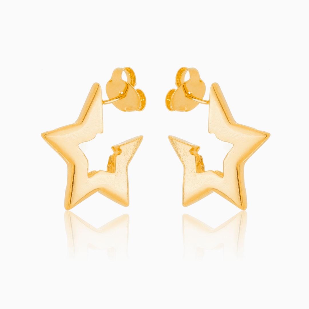 Brinco Pati de estrela grande banhado a ouro 18k