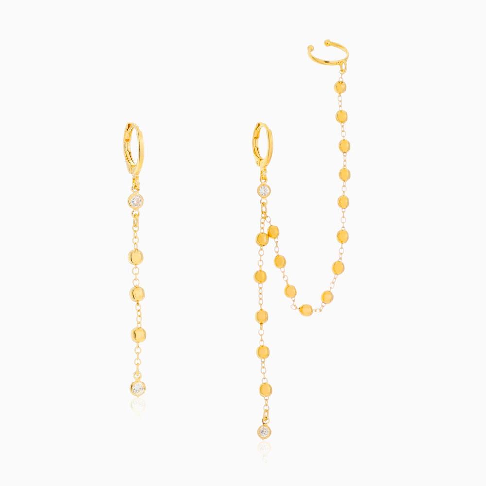Brinco piercing corrente com bolinhas e zircônia banhado a ouro 18k
