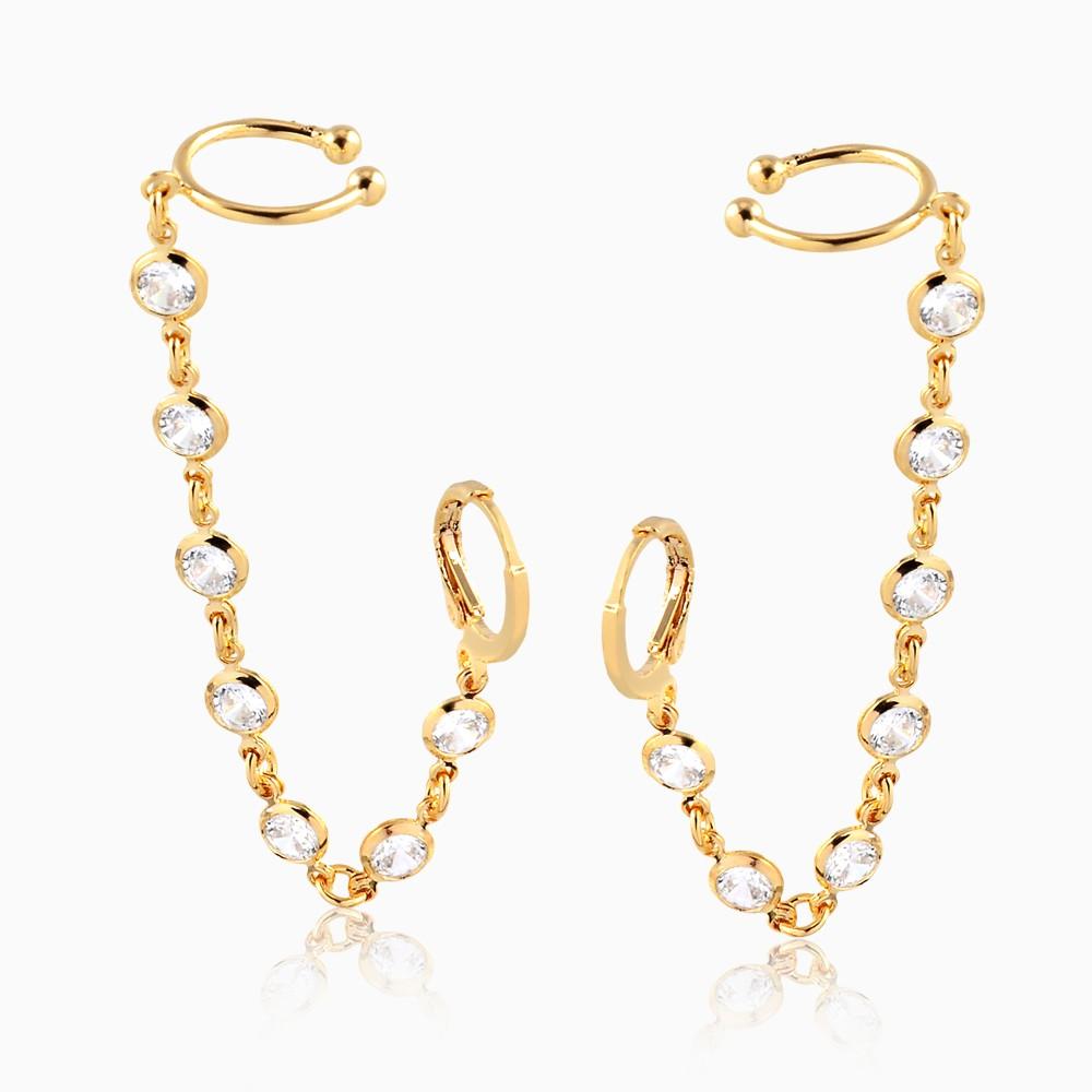 Brinco piercing cravejado com zircônia banhado a ouro 18k
