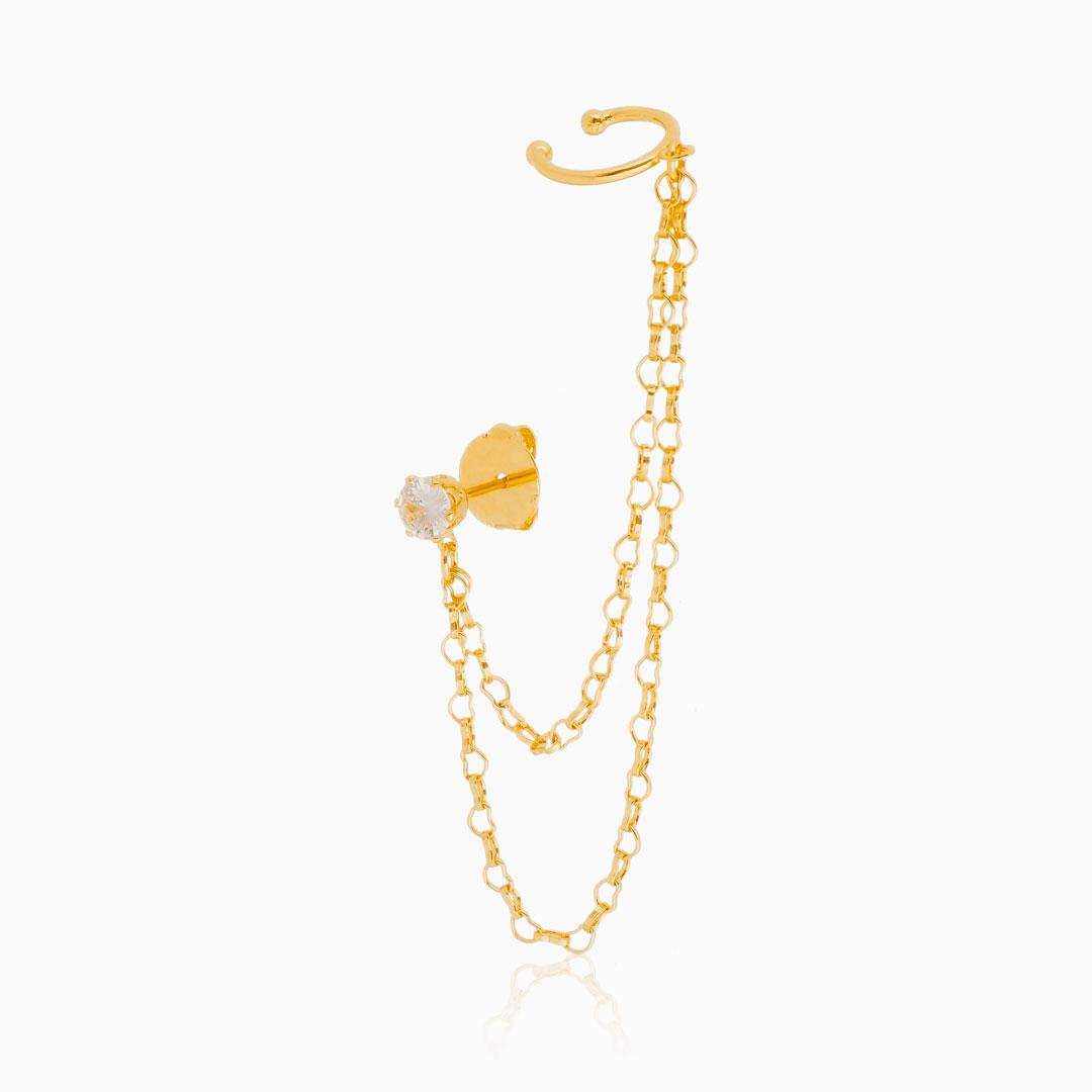 Brinco piercing de elos com zircônia banhado a ouro 18k