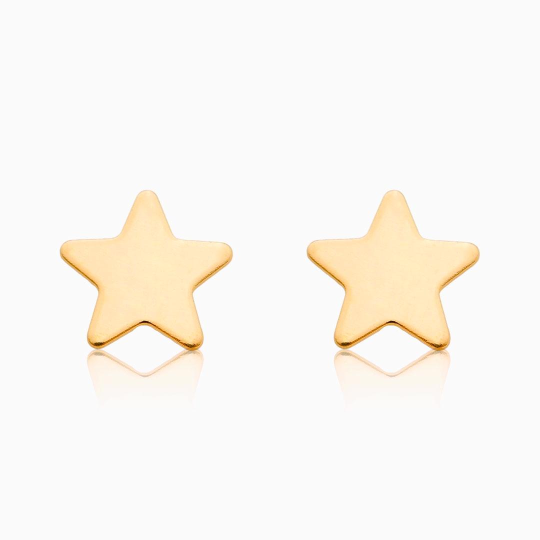 Brinco segundo furo estrela banhado a ouro 18k