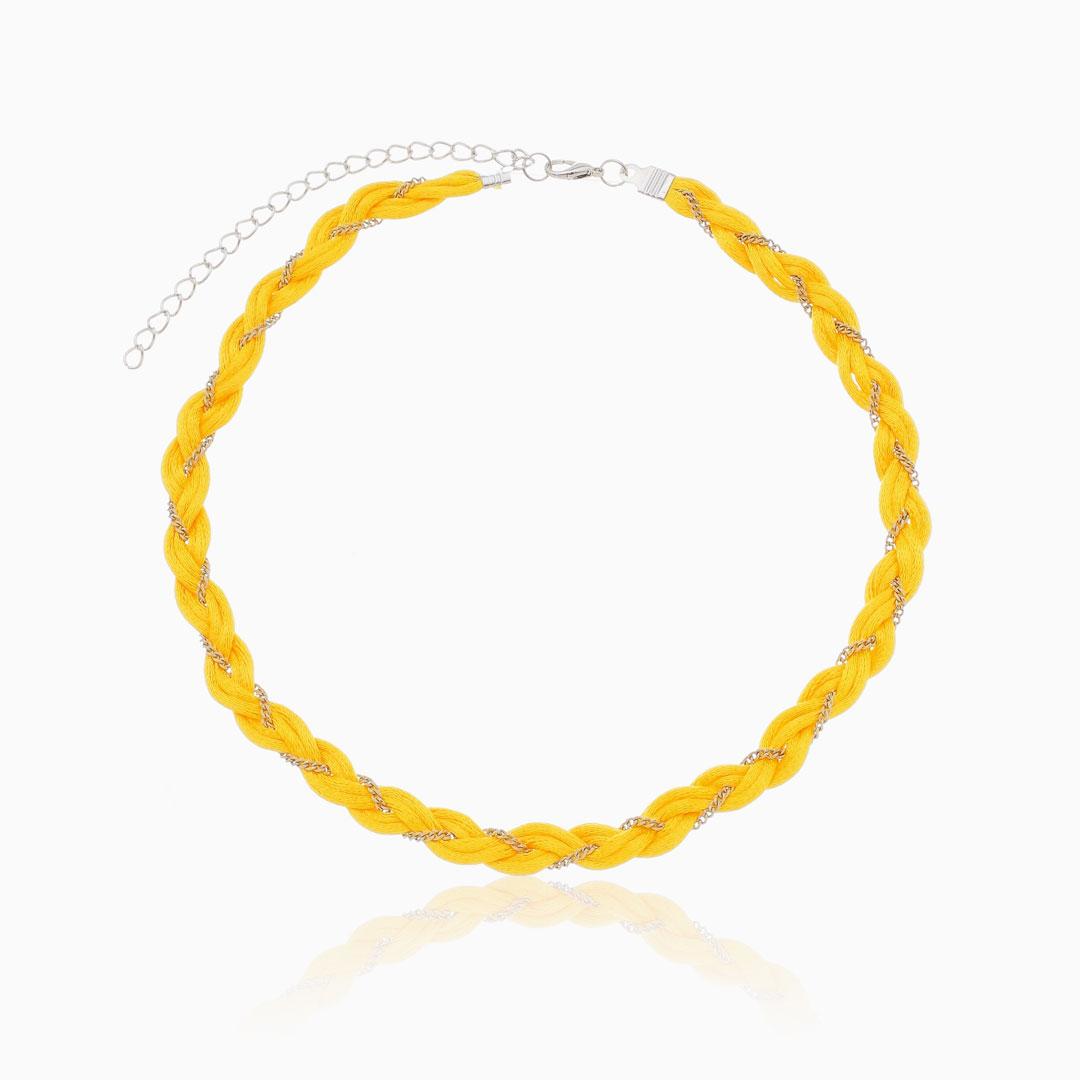 Choker amarela trançada fio acetinado