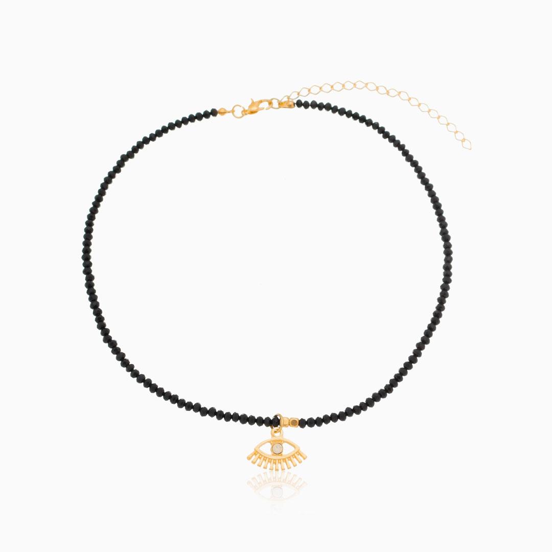 Choker de cristal preto com olho grego dourada