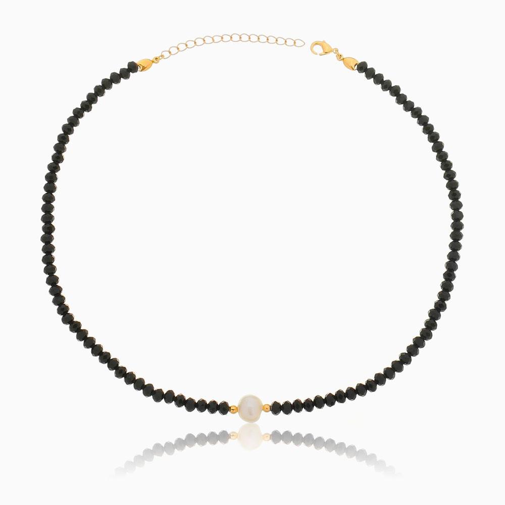 Choker de cristal preto com pérola barroca banhada a ouro 18k