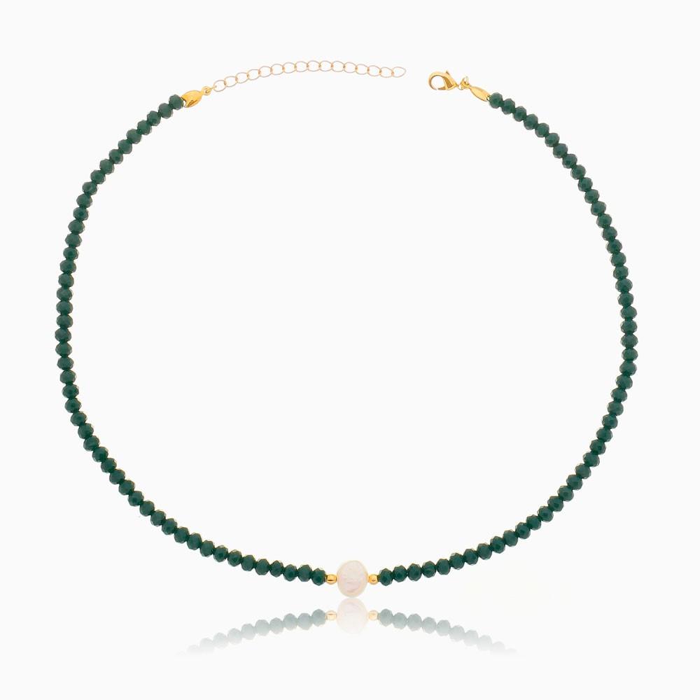 Choker de cristal verde com pérola barroca banhada a ouro 18k