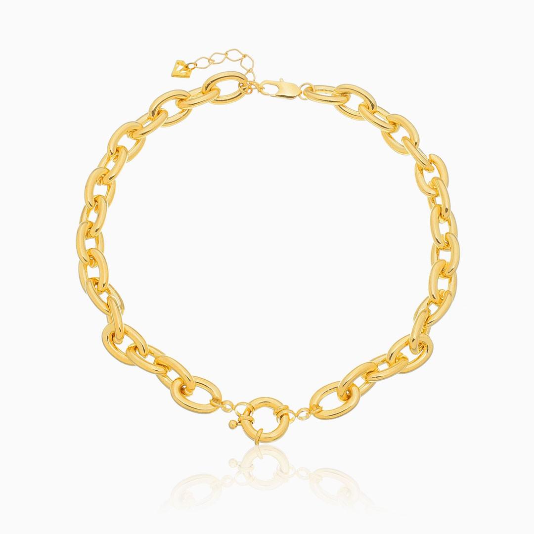 Colar de elos cadeado com fecho bóia banhado a ouro 18k