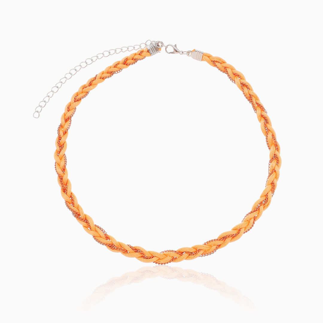 Choker laranja trançada fio acetinado e elos