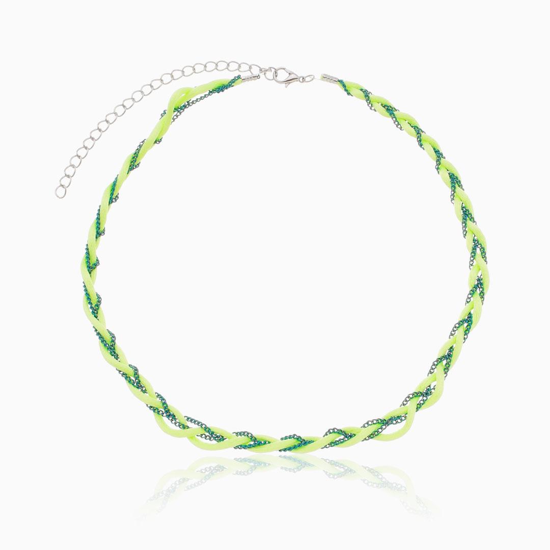 Choker verde trançada fio acetinado