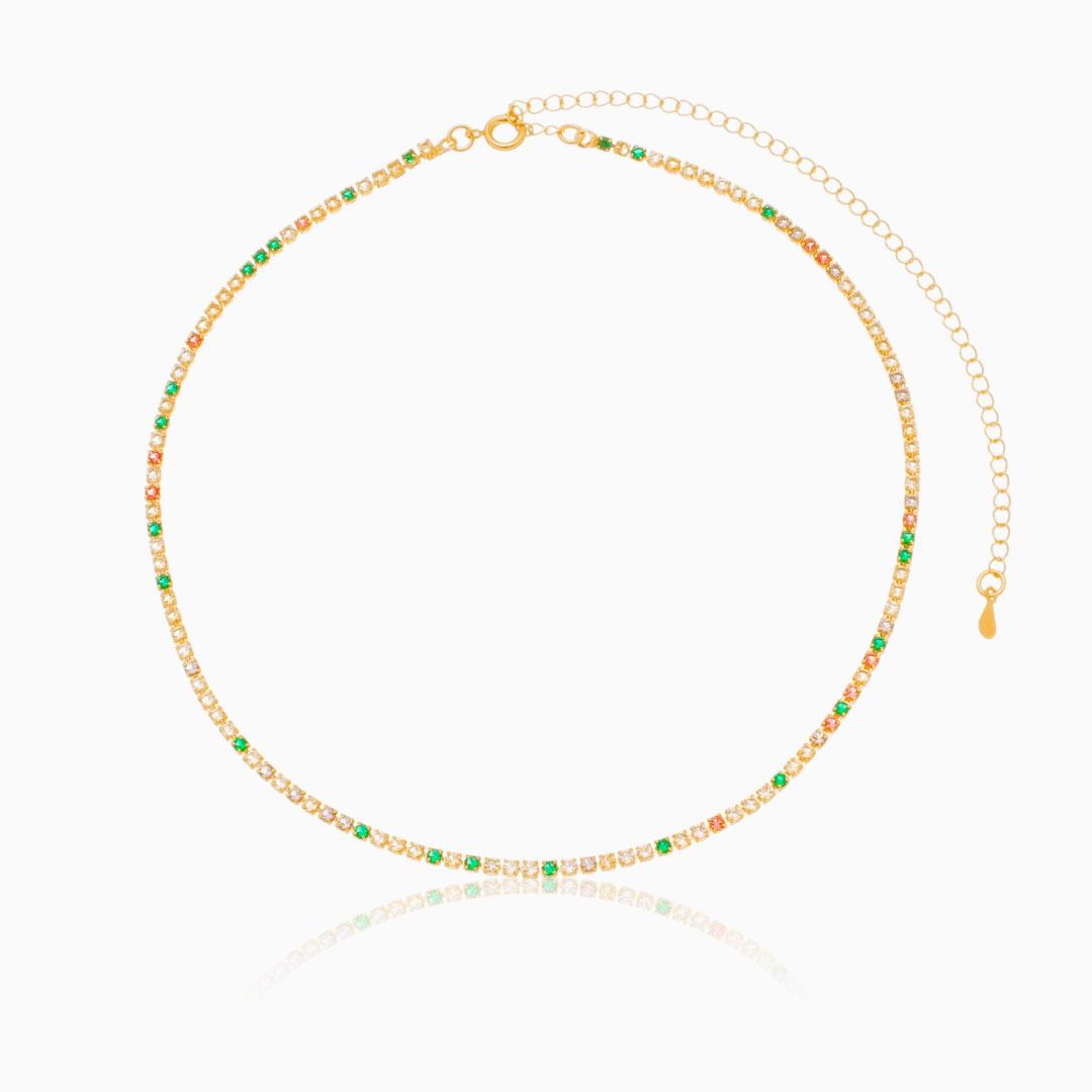 Choker Laura riviera com zircônia colorida banhada a ouro 18k