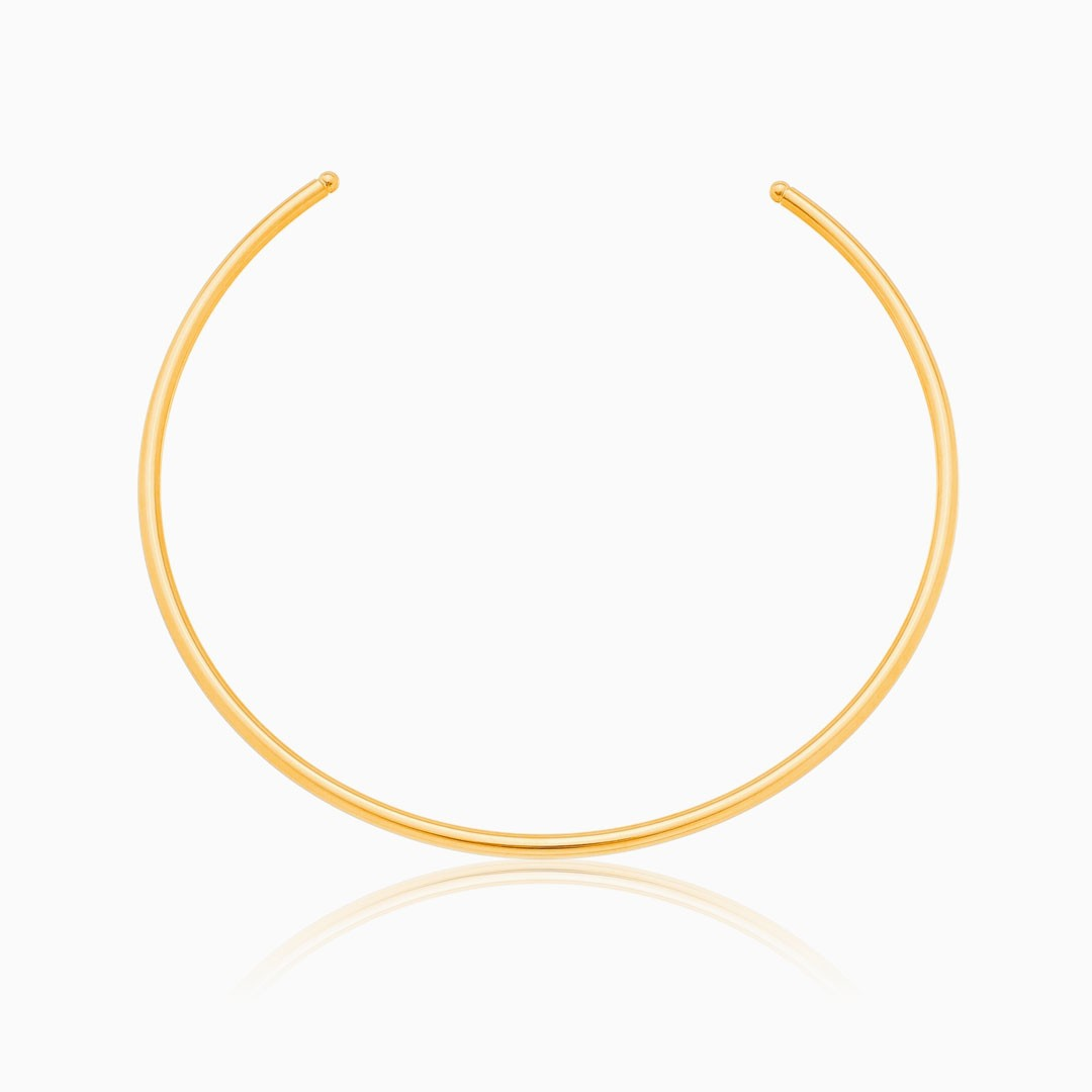 Choker tubo liso Lorena banhado a ouro 18k
