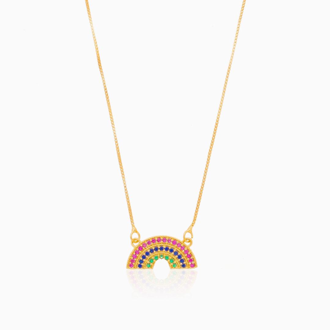 Colar arco íris cravejado colorido banhado a ouro 18k