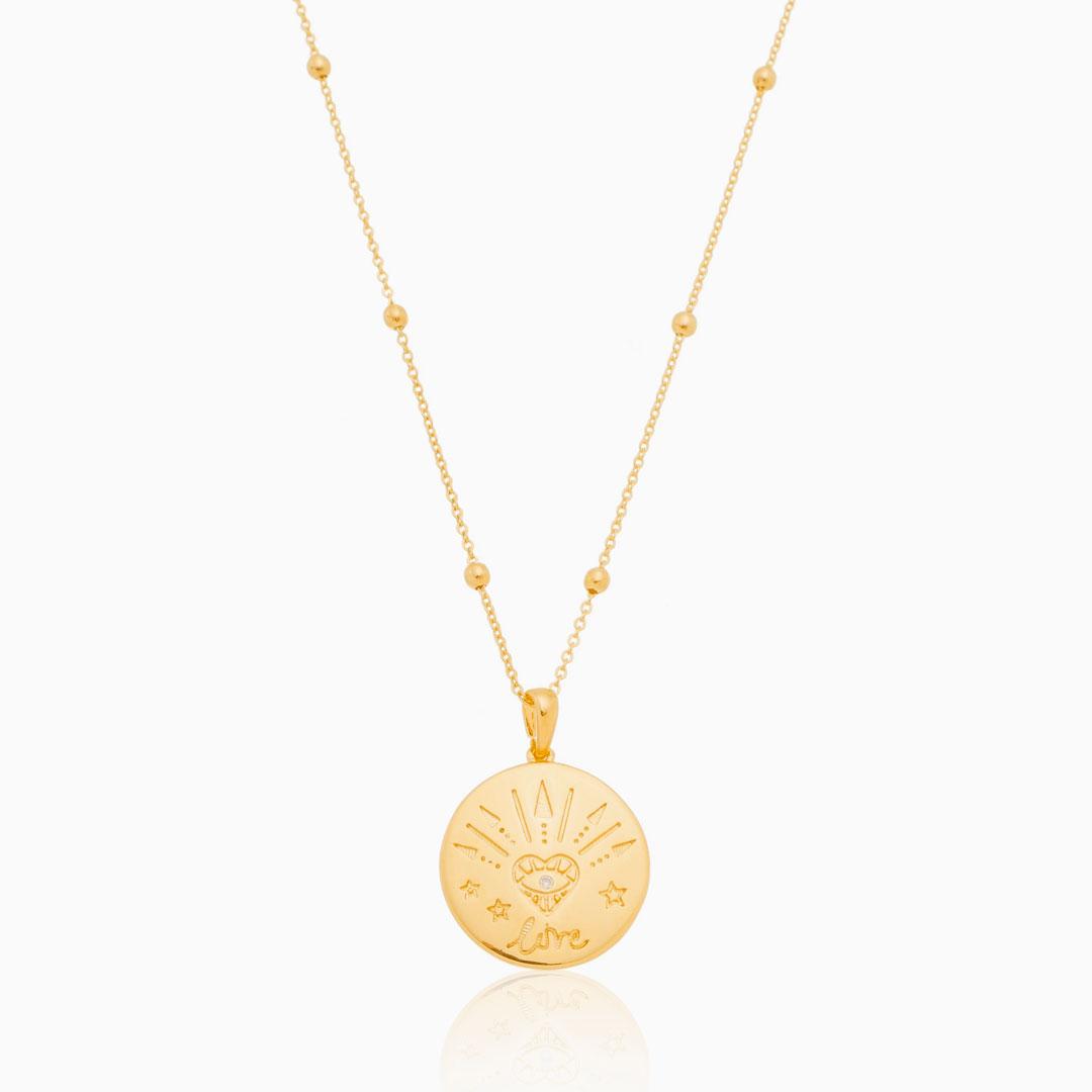 Colar com medalha Love e olho grego banhado a ouro 18k