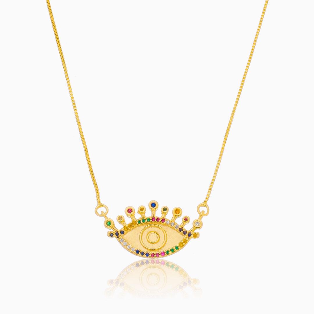 Colar com olho grego cravejado colorido banhado a ouro 18k