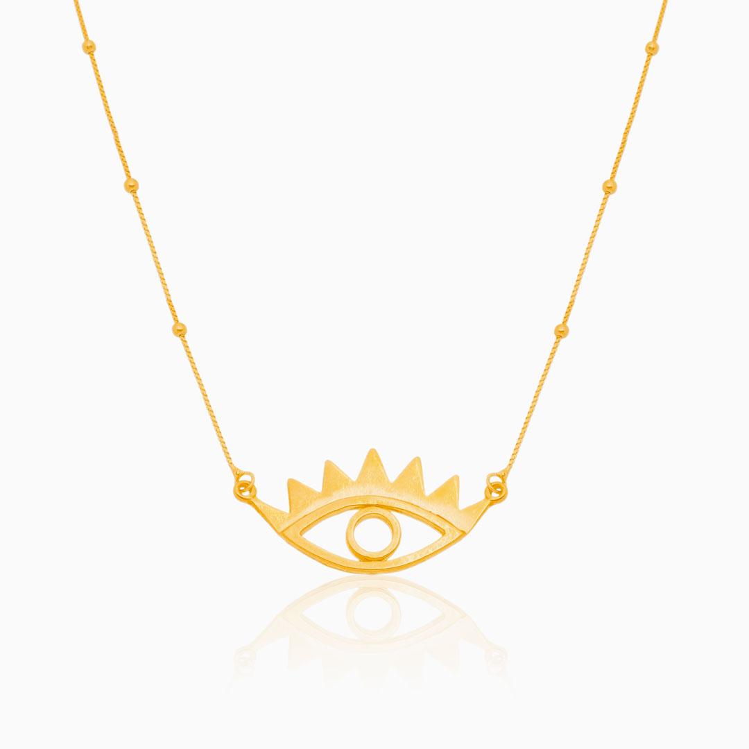 Colar com pingente de olho grego banhado a ouro 18k