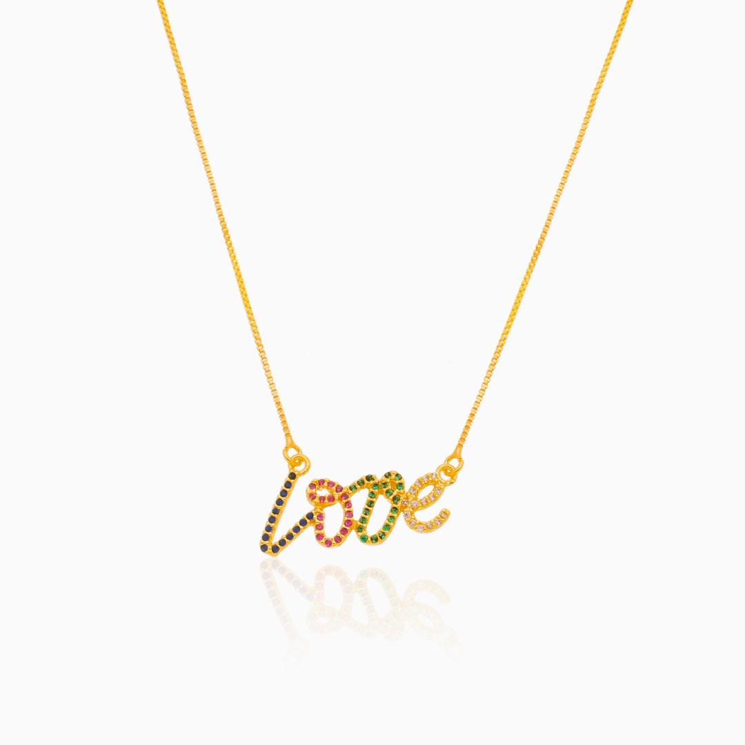 Colar com pingente LOVE colorido banhado a ouro 18k