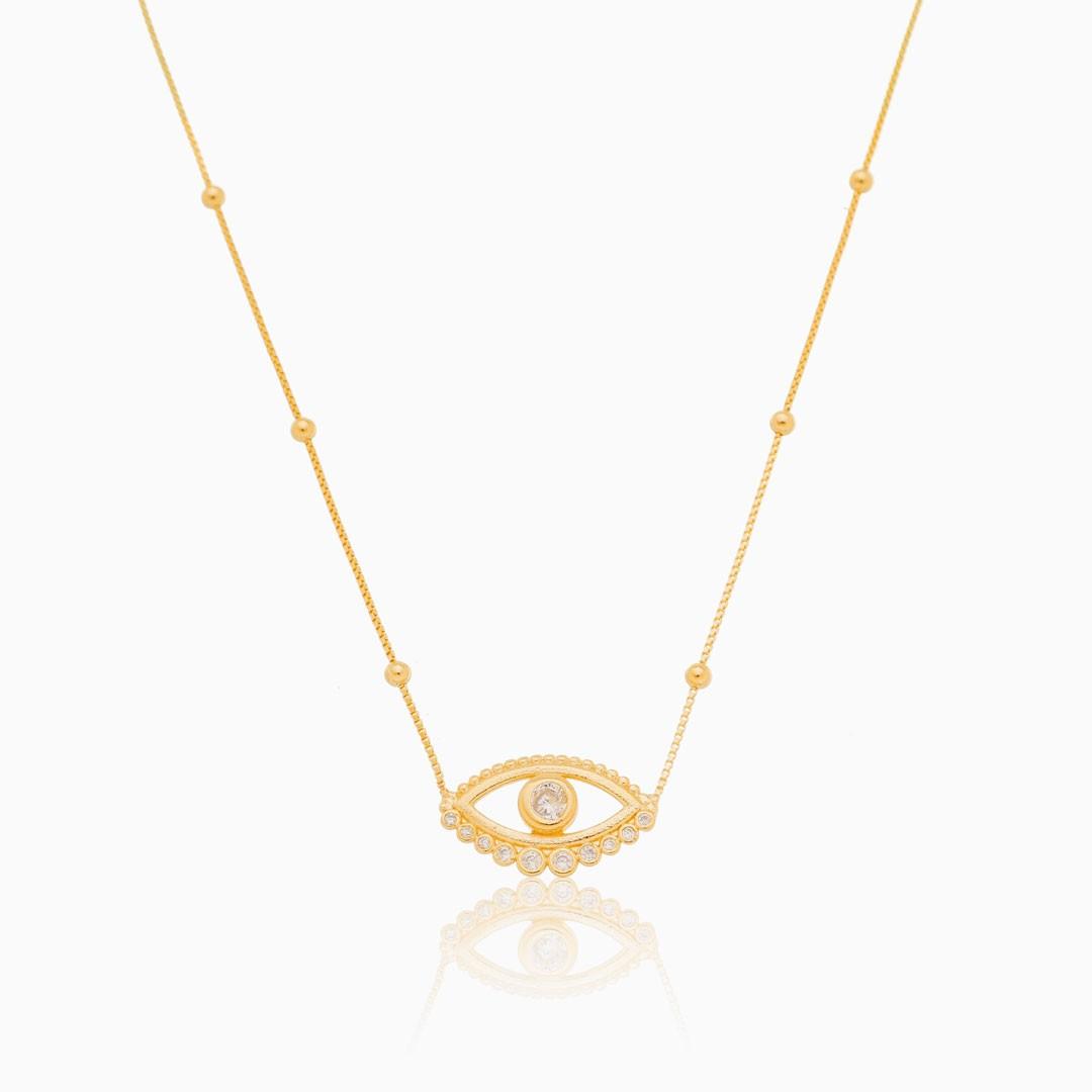 Colar de bolinha com olho grego cravejado banhado a ouro 18k
