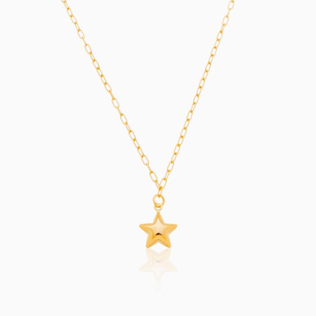 Colar de elos finos com estrela banhado a ouro 18k