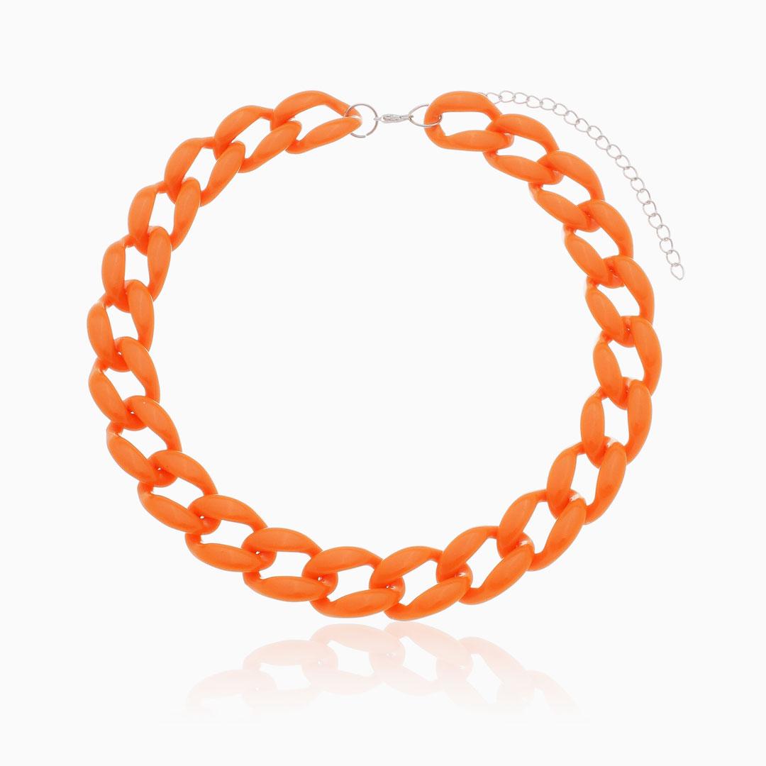 Colar de elos grandes em acrílico laranja
