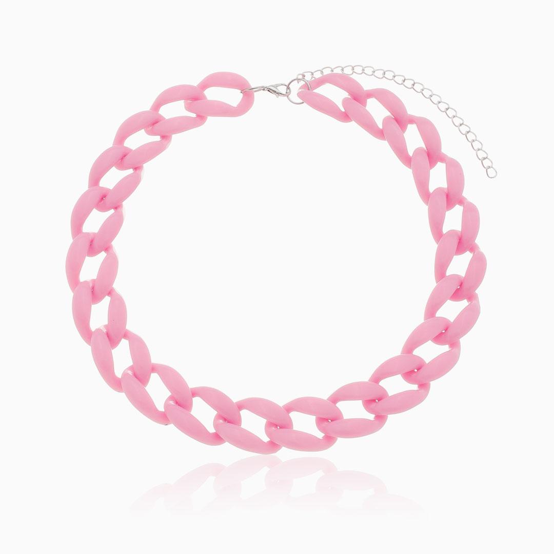 Colar de elos grandes em acrílico rosa