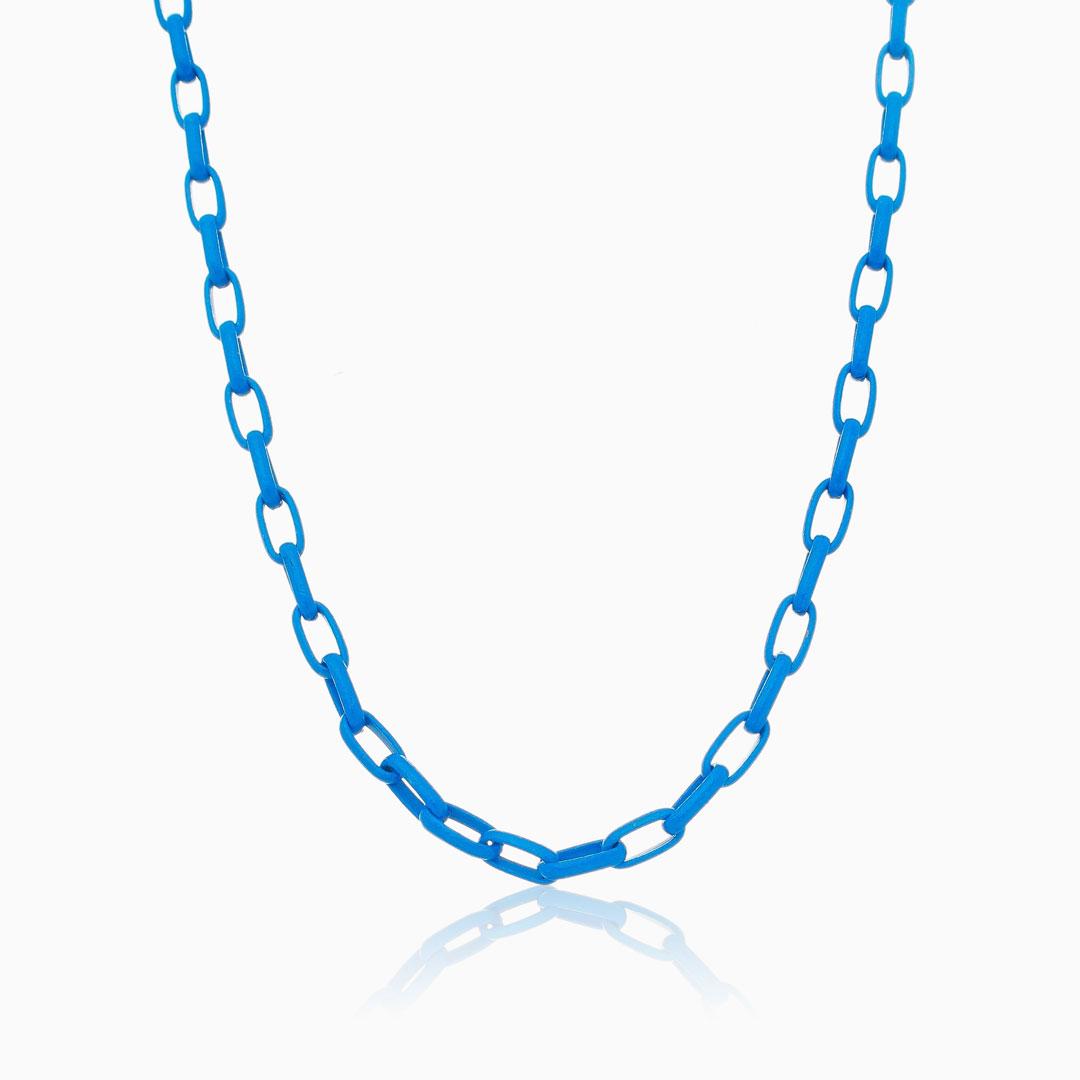 Colar de elos médio azul color pop
