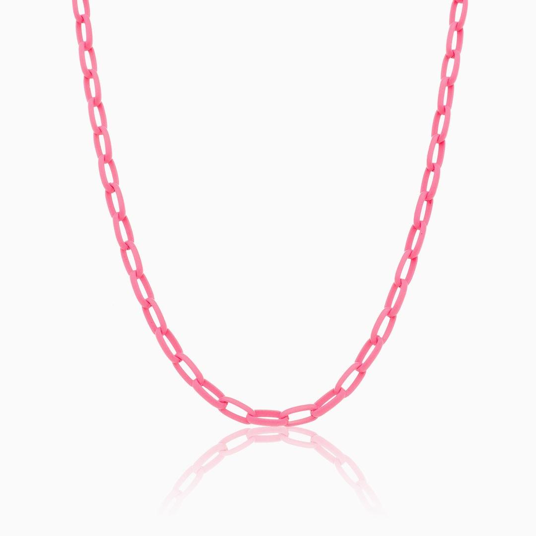 Colar de elos médio rosa neon color pop