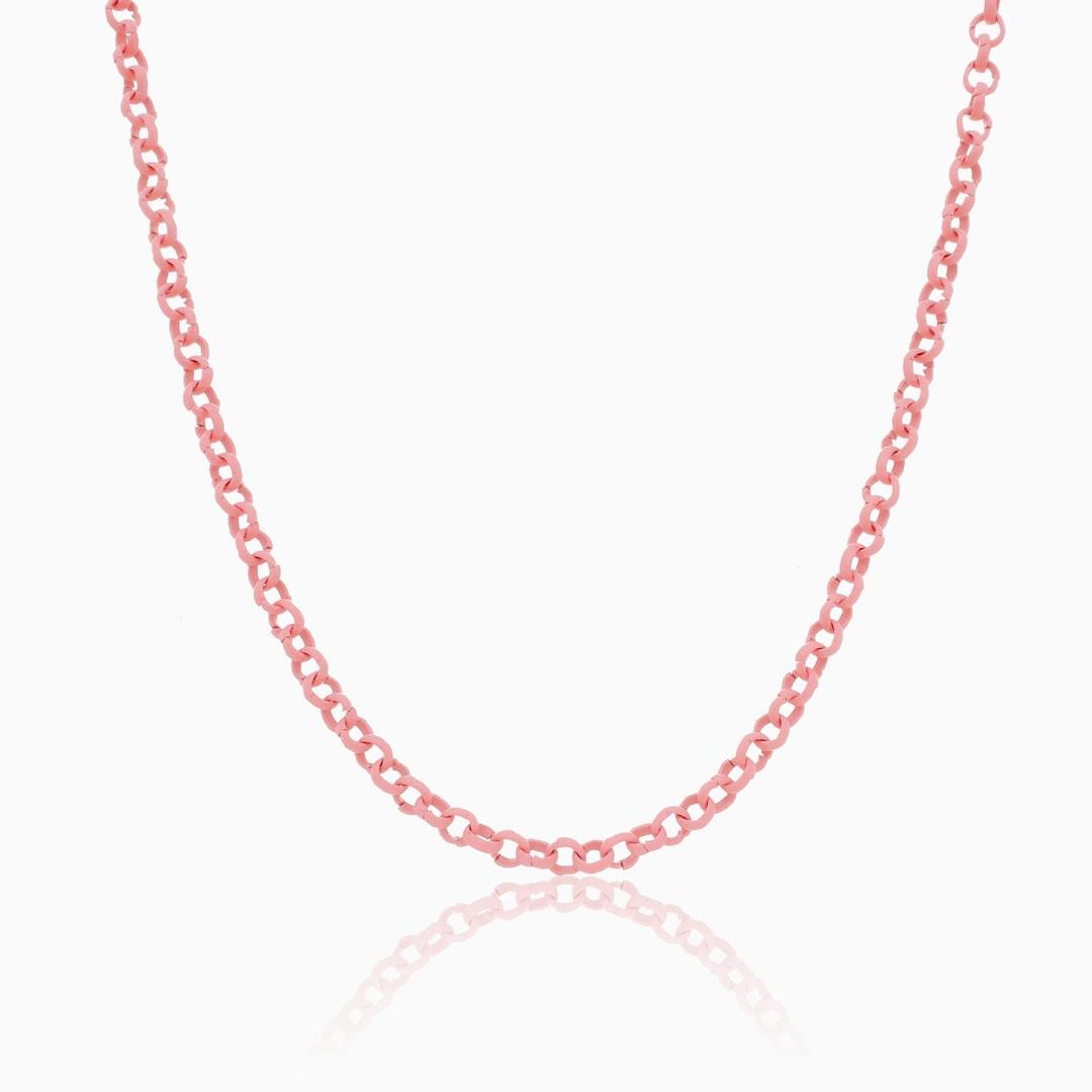 Colar de elos português rosa color pop