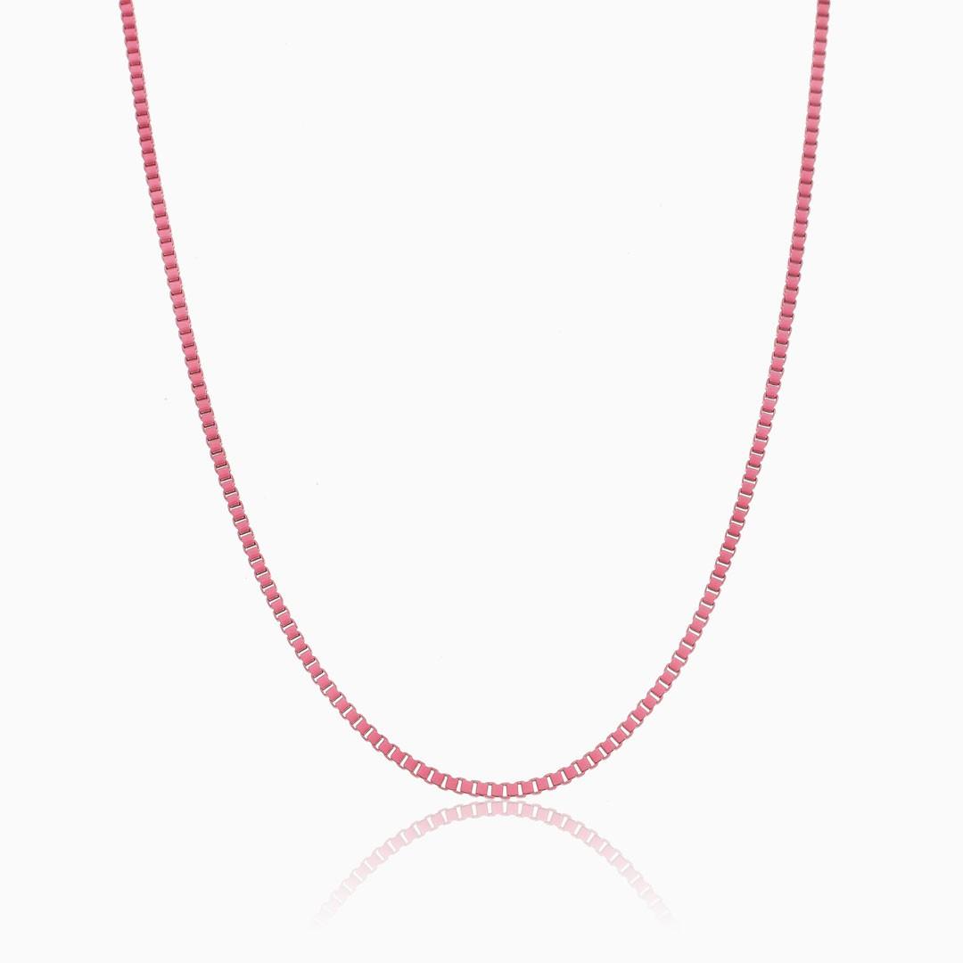 Colar de elos quadrados rosa color pop