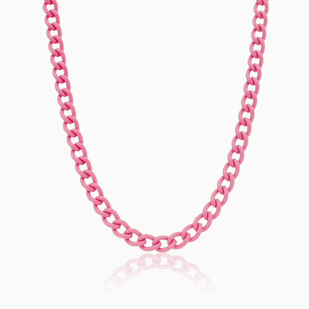 Colar de elos rosa color pop