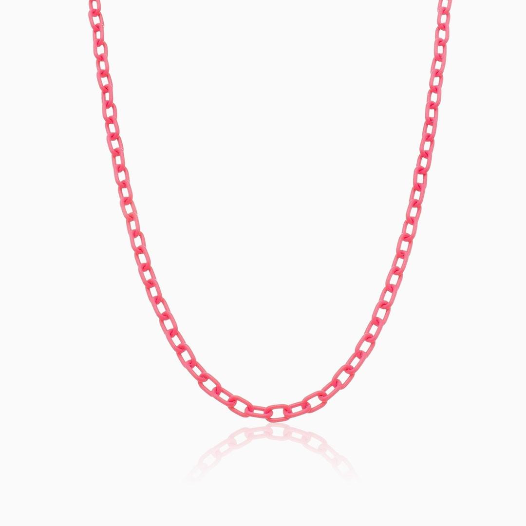 Colar de elos rosa neon color pop