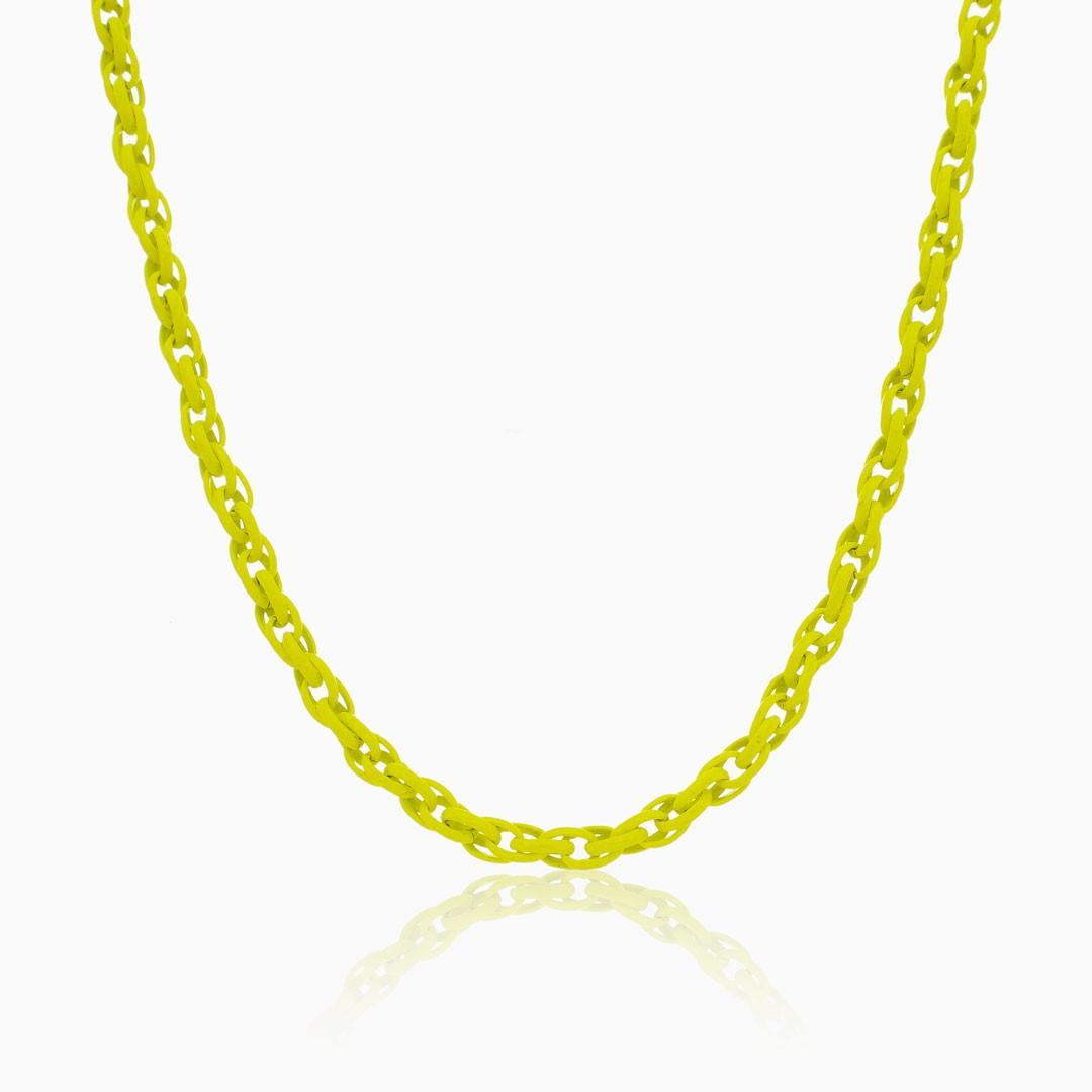 Colar de elos trançado amarelo neon color pop