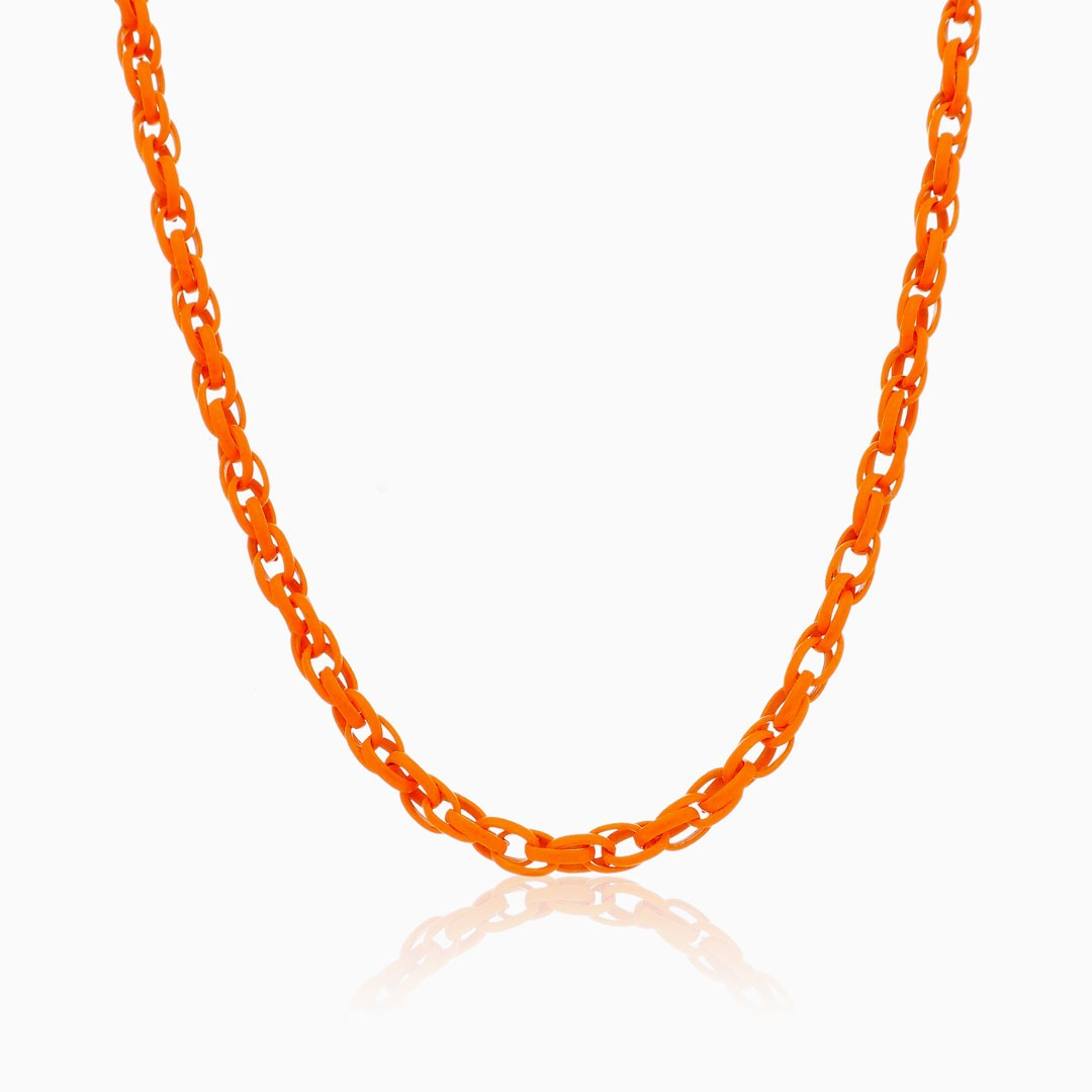 Colar de elos trançado laranja neon color pop
