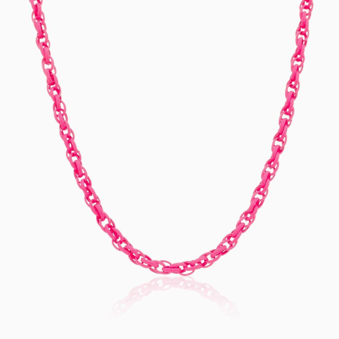 Colar de elos trançado rosa neon color pop