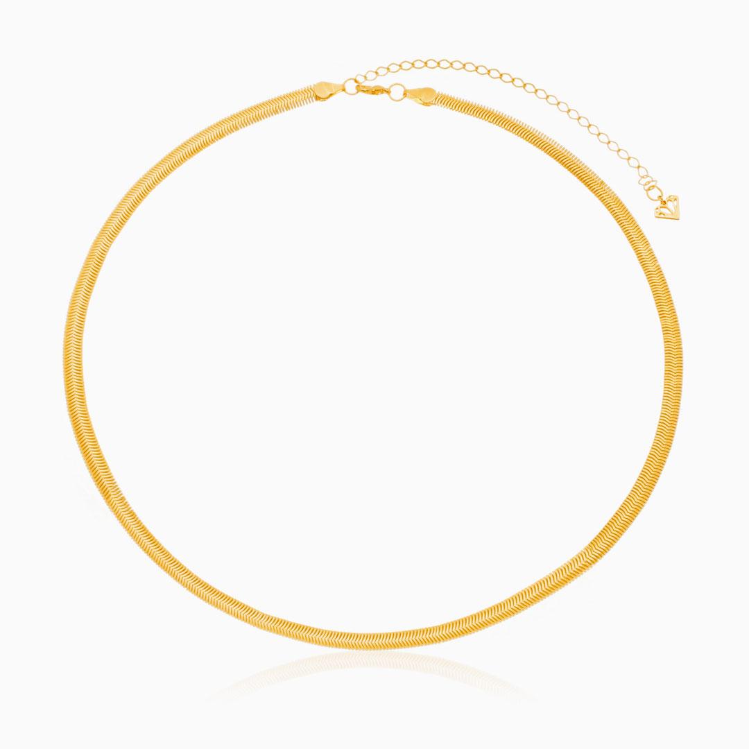 Colar de malha Thassia fino 45cm banhado a ouro 18k