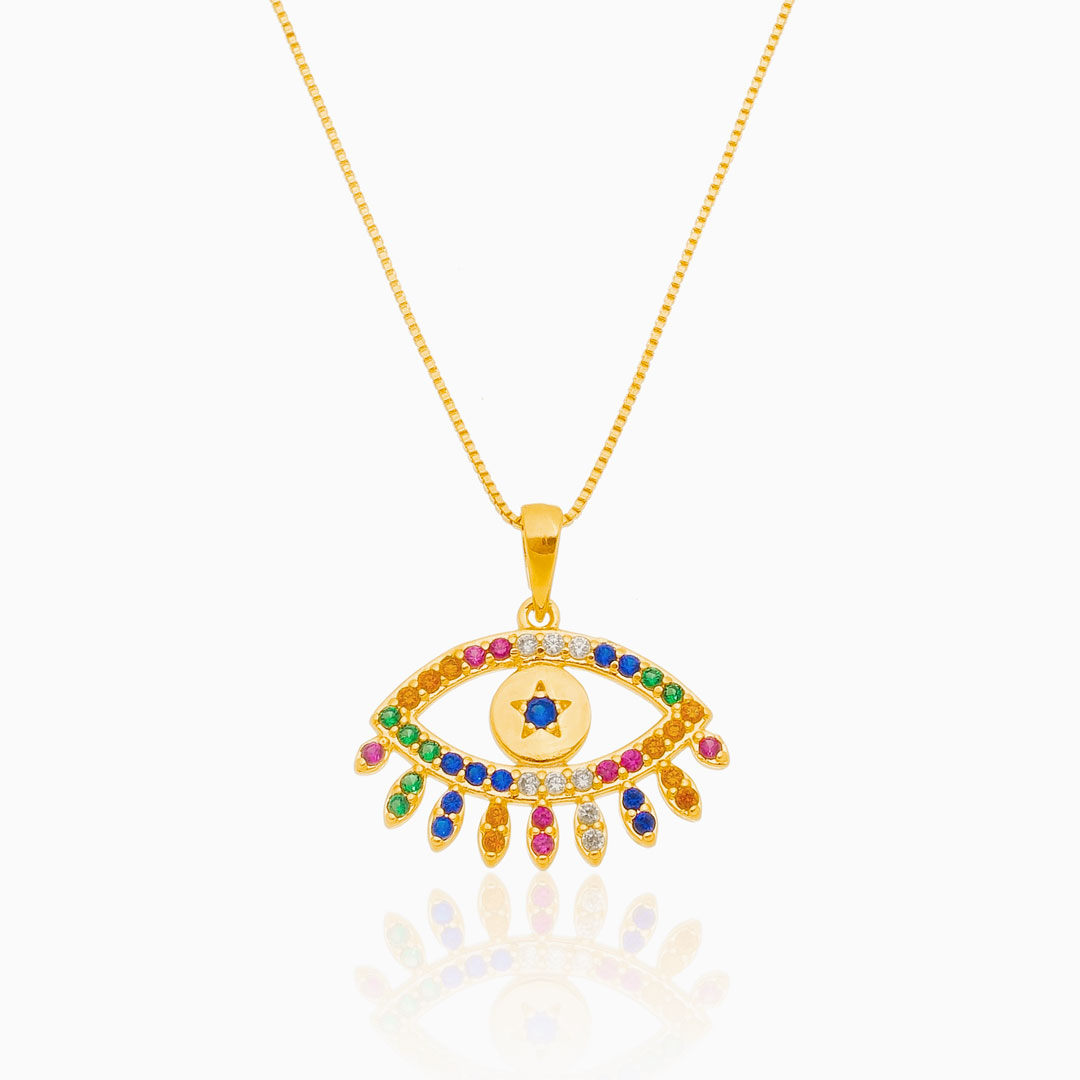 Colar de olho grego cravejado colorido banhado a ouro 18k
