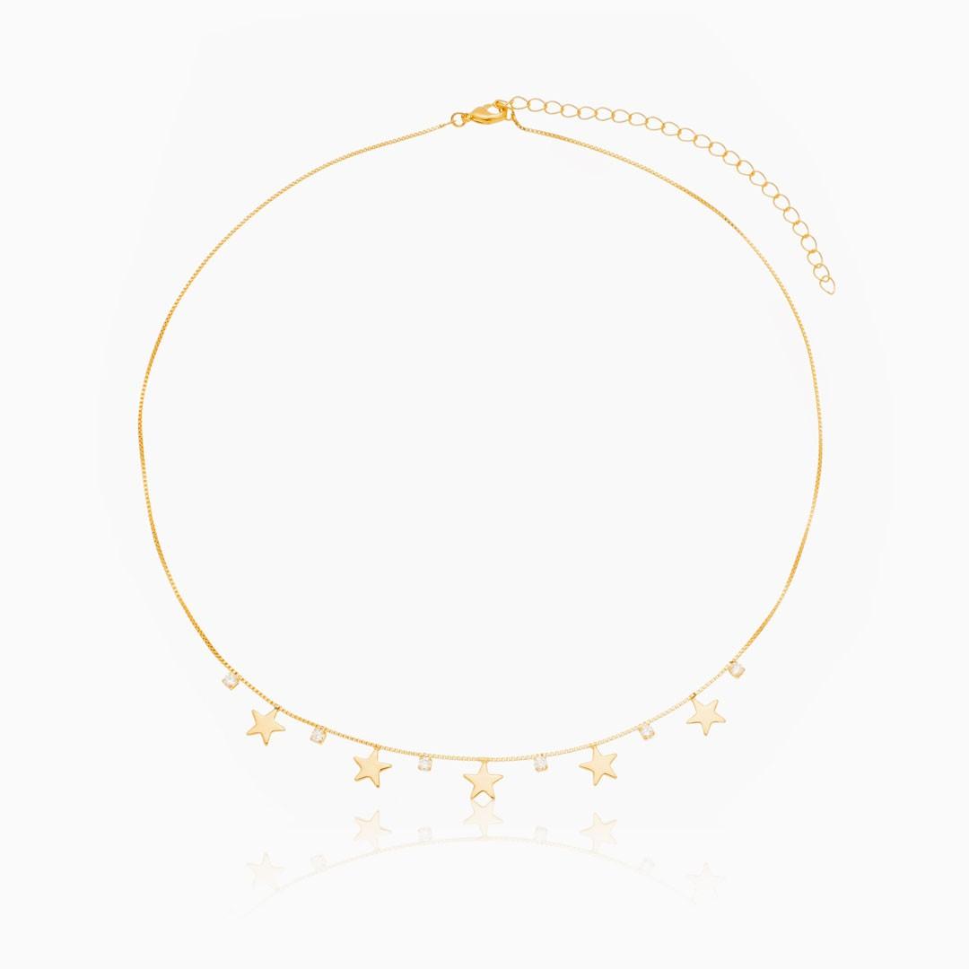 Colar Ester com estrela e zircônia banhado a ouro 18k