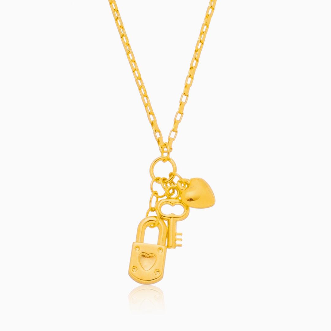 Colar Eva com cadeado banhado a ouro 18k
