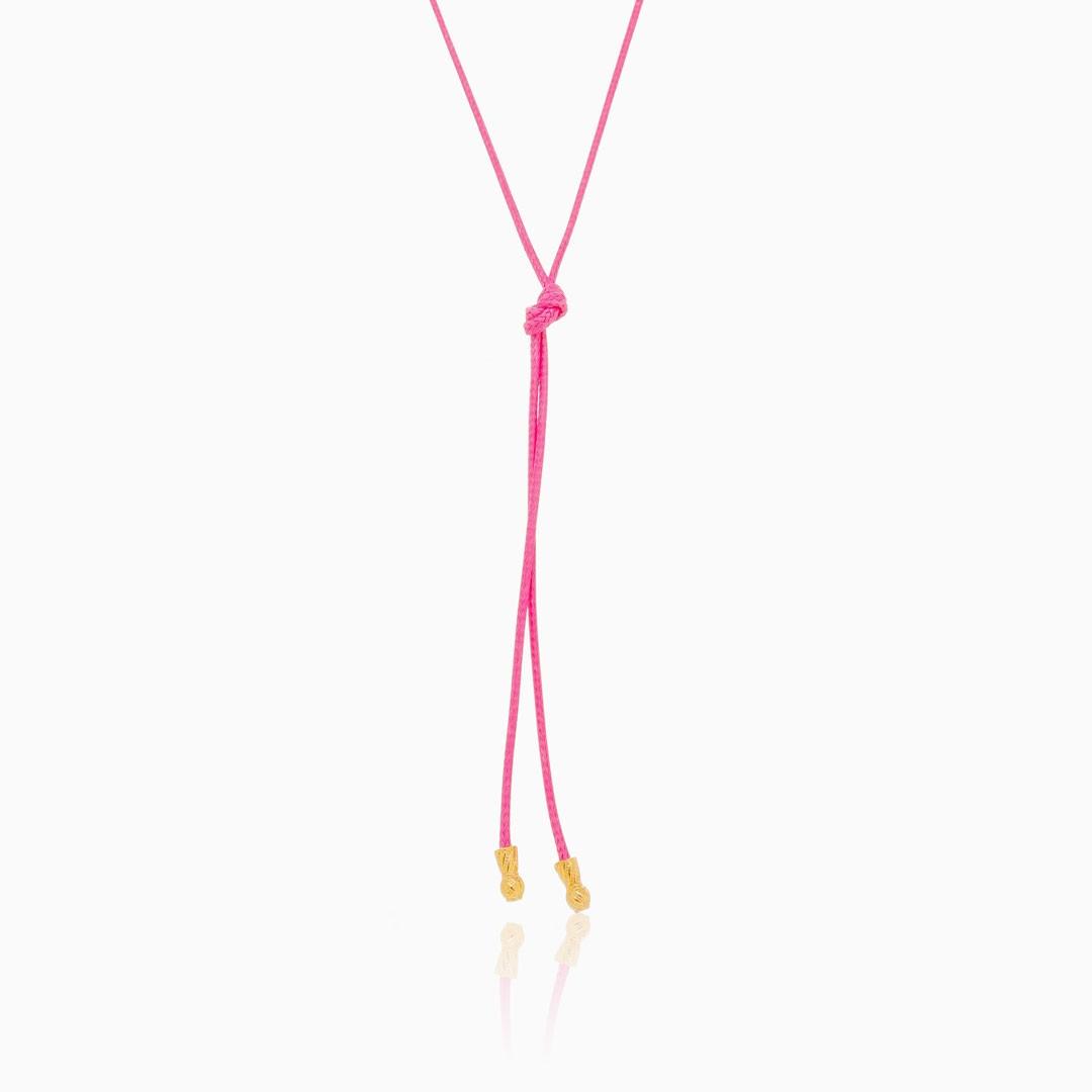 Colar fio encerado pink color pop