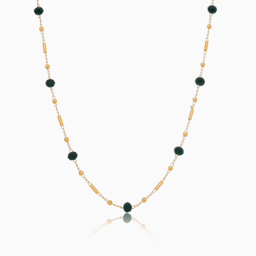 Colar longo com bolinhas e cristais verdes banhado ouro 18k