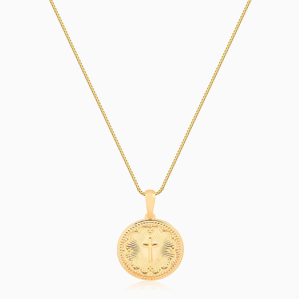 Colar longo com medalha de cruz banhado a ouro 18k