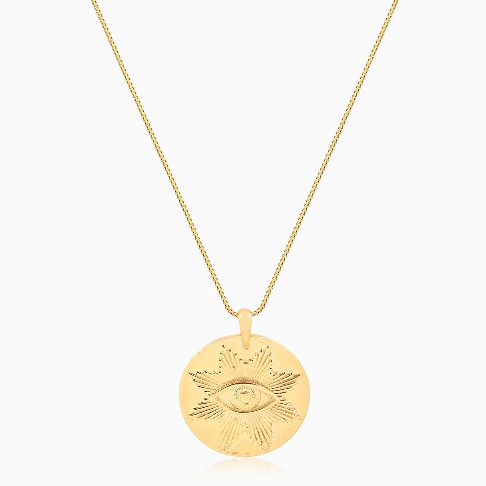 Colar longo com medalha de olho grego banhado a ouro 18k