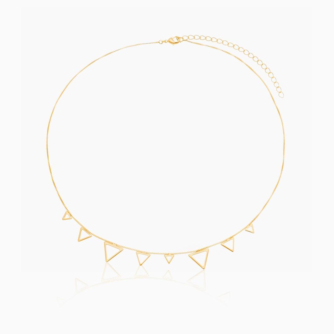 Colar Luna com triângulos banhado a ouro 18k