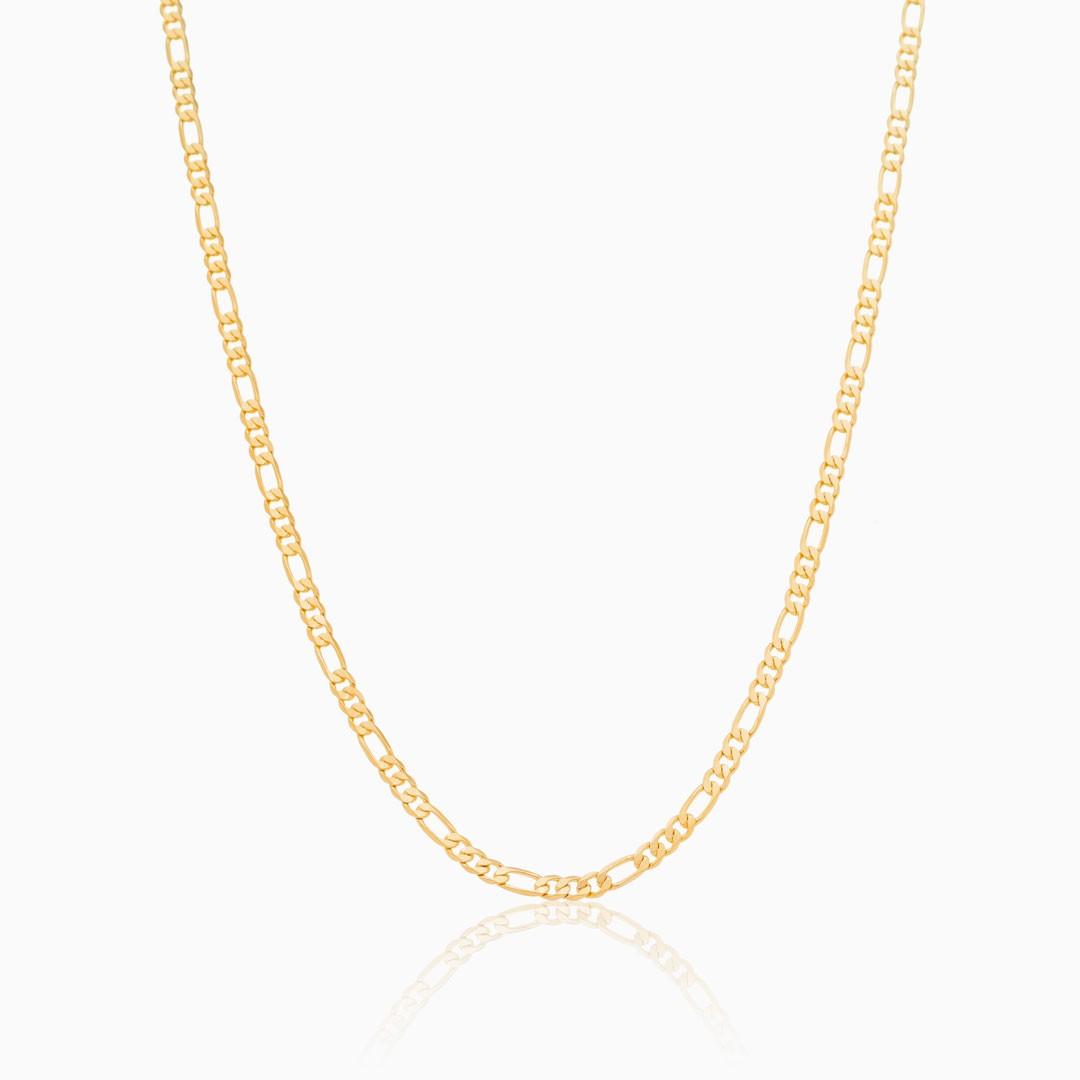 Colar Miranda de elos clássicos 50cm banhado a ouro 18k