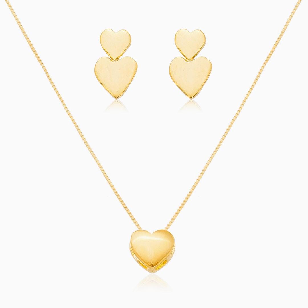 Conjunto de coração liso banhado a ouro 18k