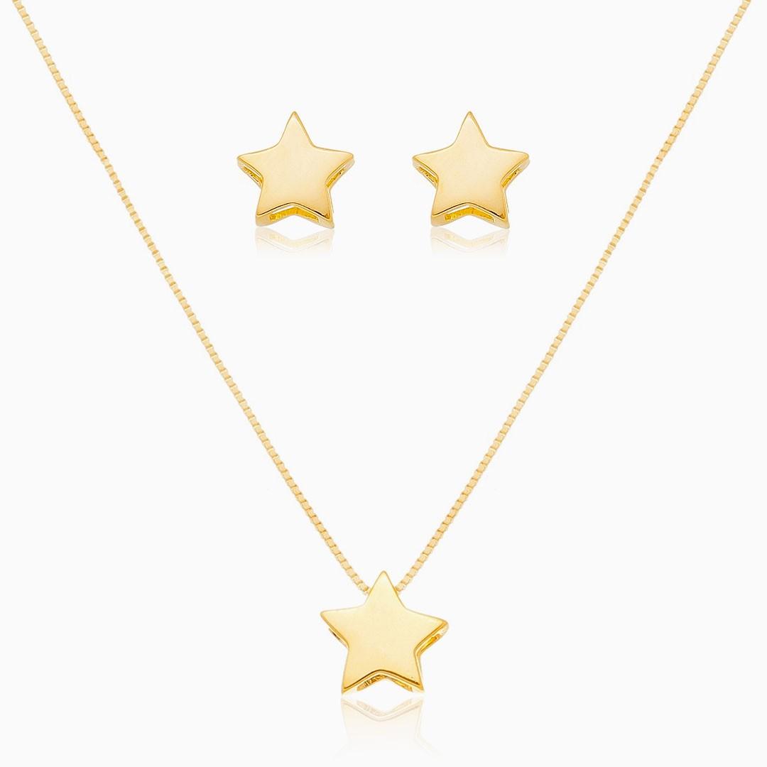 Conjunto de estrela liso banhado a ouro 18k