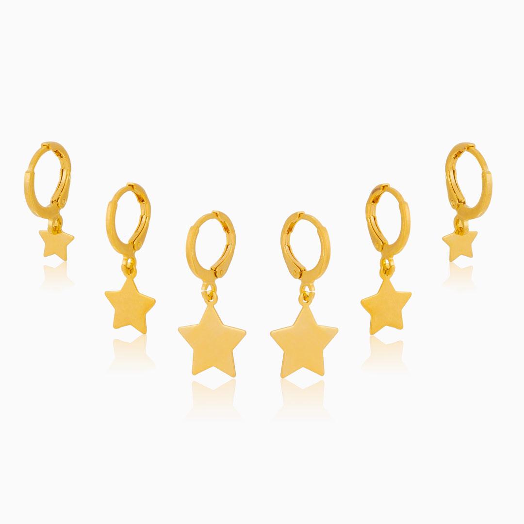 Kit de brincos de argola com estrela banhado a ouro 18k
